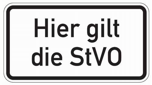 Zusatz Textschild für Verkehrszeichen Hier gilt die StVO verschiedene Größen Aluminium reflektieren