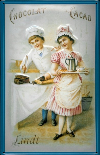 Blechschild Lindt Chocolate Cacao Schokolade 2 Frauen Schild Nostalgieschild