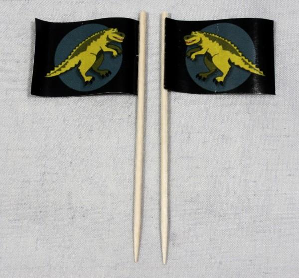 Party-Picker Flagge gelber Dino Papierfähnchen in Spitzenqualität 50 Stück Beutel
