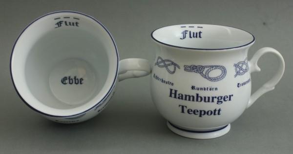 Hamburger Teepott mit Seemannsknoten bauchig Souvenir Teetasse Tee Becher Andenken Teebecher