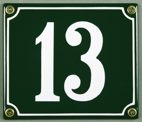 Hausnummernschild 13 grün 12x14 cm sofort lieferbar Schild Emaille Hausnummer Haus Nummer Zahl Ziffe