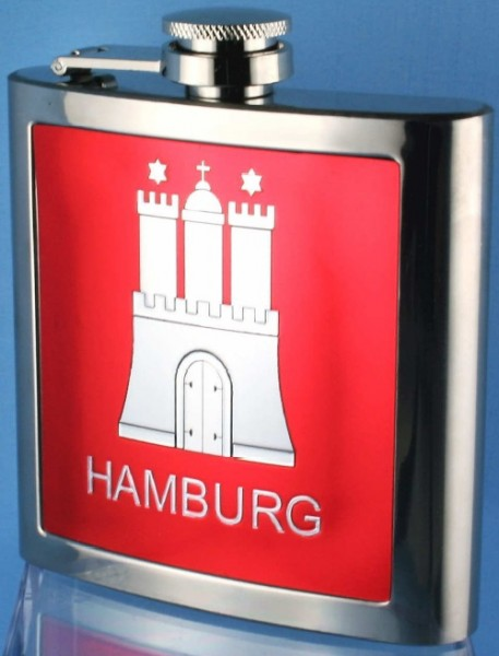 Flachmann Hamburg mit Hamburger Wappen rot Edelstahl