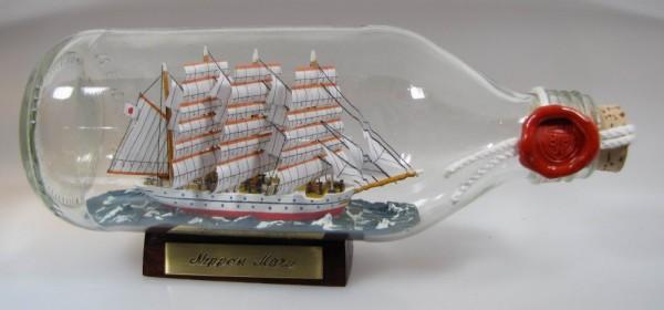 Nippon Maru Japan runde Flasche 0,3 Liter Buddelschiff Flaschenschiff