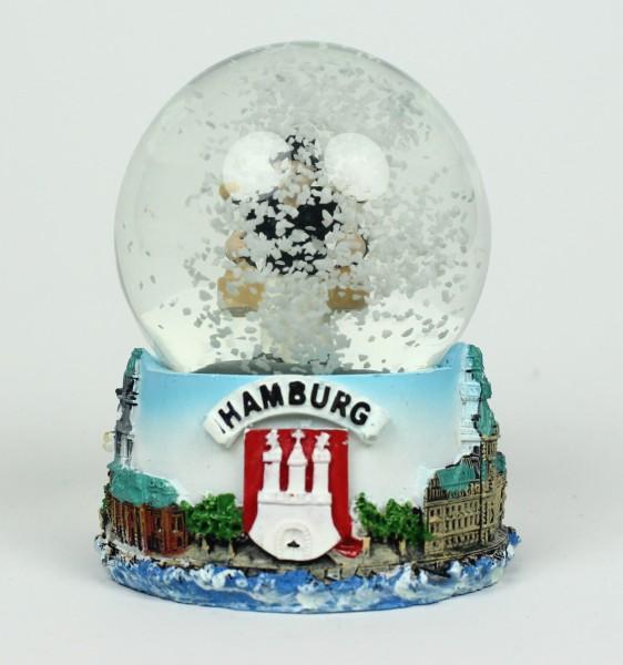 Schneekugel mit Hummel Figur Hamburg Schüttelkugel Glitzerkugel Andenken