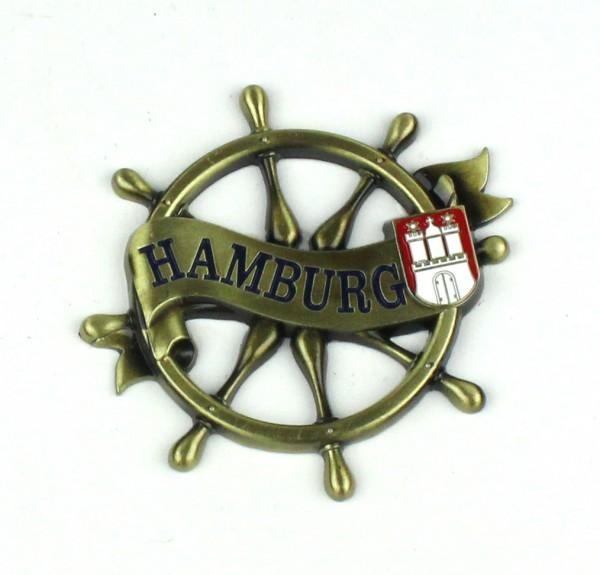 Magnet Steuerrad Tau Messing Gold Hamburg Banderole Wappen Souvenir Mitbringsel Geschenk Deko