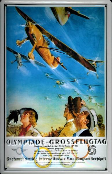 Blechschild Olympiade Großflugtag Berlin Flugzeug Schild Nostalgieschild