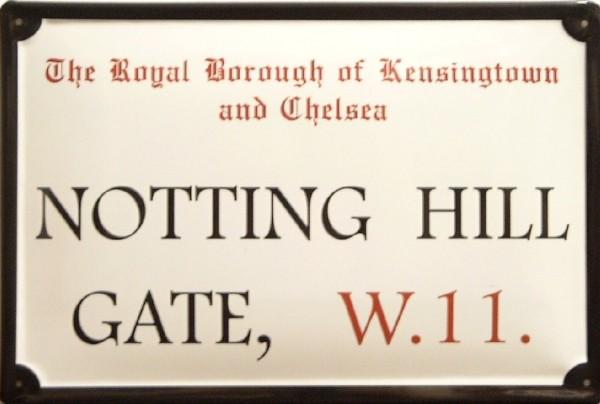 Blechschild Nostalgieschild Notting Hill Gate London Strassenschild