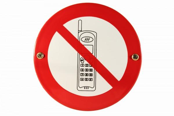 Emaille Schild Handys verboten Emailleschild Verbotsschild Warnschild