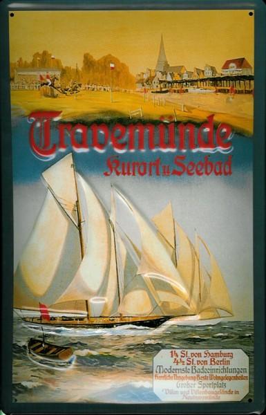 Blechschild Travemünde Segelboot Regatta Segelyacht Schiff Schild Nostalgieschild
