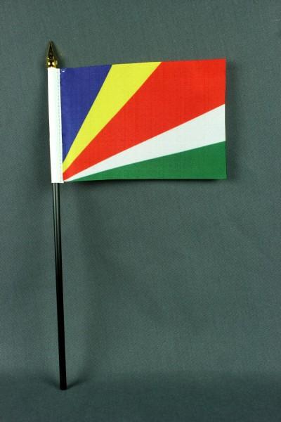Kleine Tischflagge Seychellen 10x15 cm optional mit Tischfähnchenständer