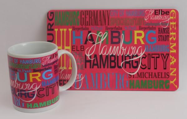 Hamburg Frühstücksset Becher + Brett pink