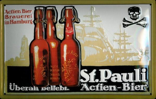 Blechschild St. Pauli Bier Totenkopf Brauerei Hamburg Schild Werbeschild Nostalgieschild