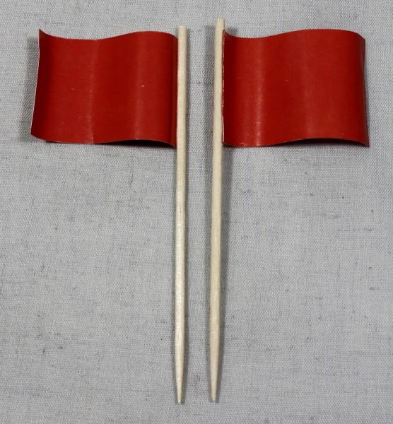 Party-Picker Flagge Uni Rot Papierfähnchen in Spitzenqualität 50 Stück Beutel