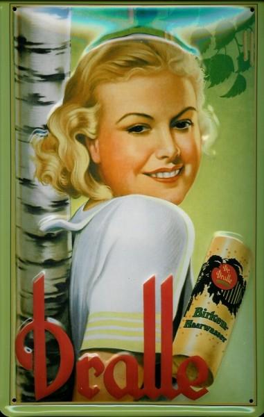 Blechschild Dralle Birken Haarwasser Schild retro Werbeschild Nostalgieschild