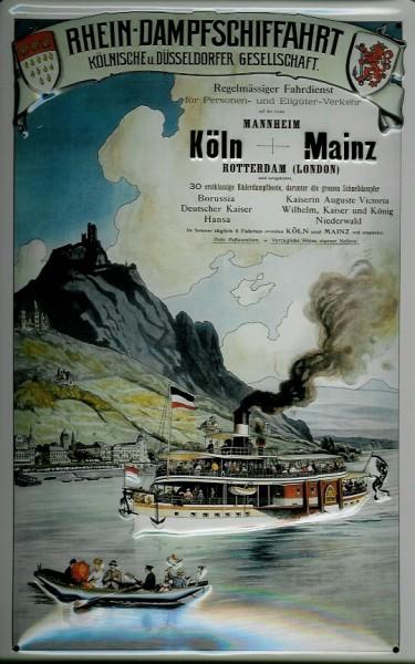 Blechschild Rhein Dampfschiffahrt Ausflugsschiff Loreley Dampfer Reedereiplakat Schiff Schild Nostal