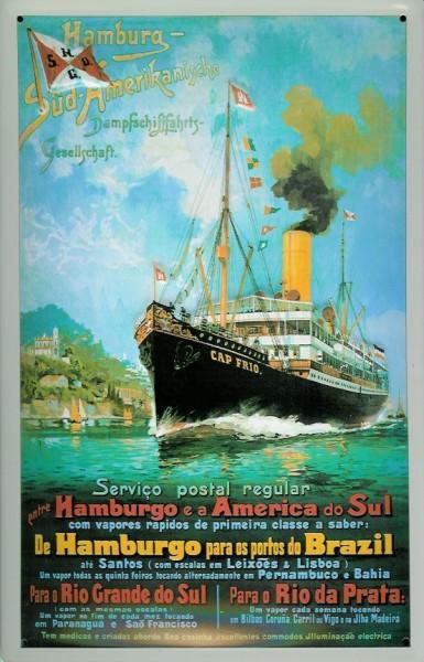 Blechschild Hamburg Süd Post Reederei Plakat Dampfer Schiff Schild Nostalgieschild