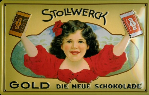 Blechschild Stollwerck Gold Schokolade Retro Schild Nostalgieschild