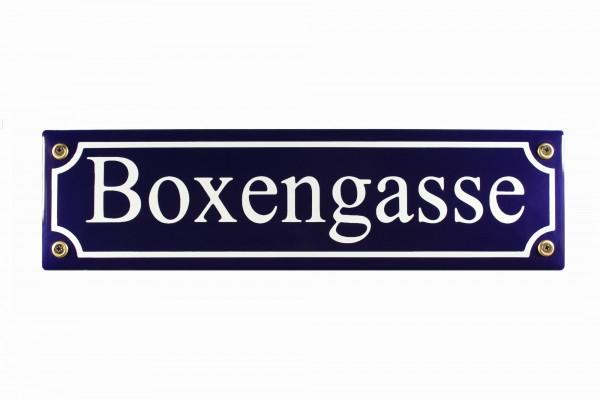 Strassenschild Boxengasse blau 30x8 cm Email Strassen Schild Emailleschild