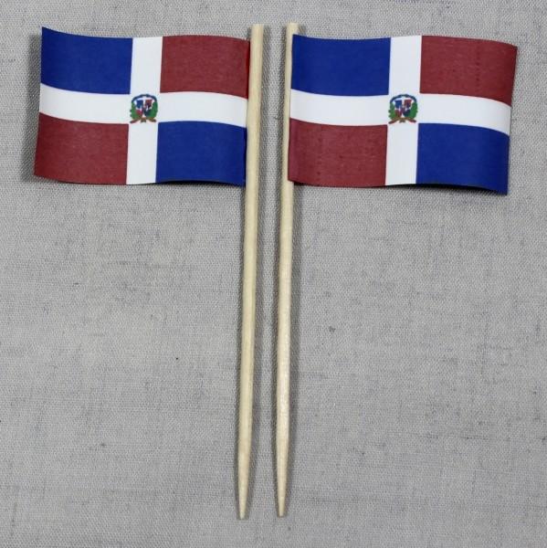 Party-Picker Flagge Dominikanische Republik Papierfähnchen in Spitzenqualität 50 Stück Beutel