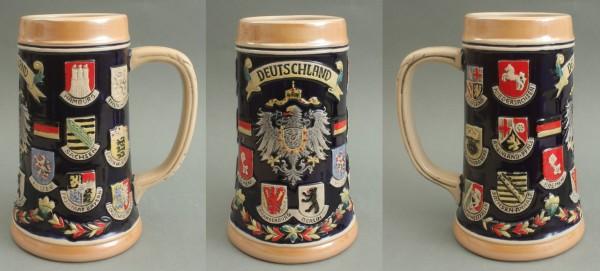 Bierkrug Deutschland Adler Keramik Bierseidel 0,3 Liter Maßkrug