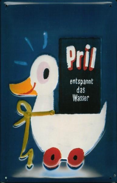 Blechschild Pril Ente entspannt das Wasser SpülmittelSchild retro Werbeschild Nostalgieschild