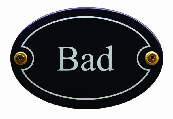 Emaille Türschild Bad blau oval Schild Toilettenschild Emailleschild Metallschild Blechschild