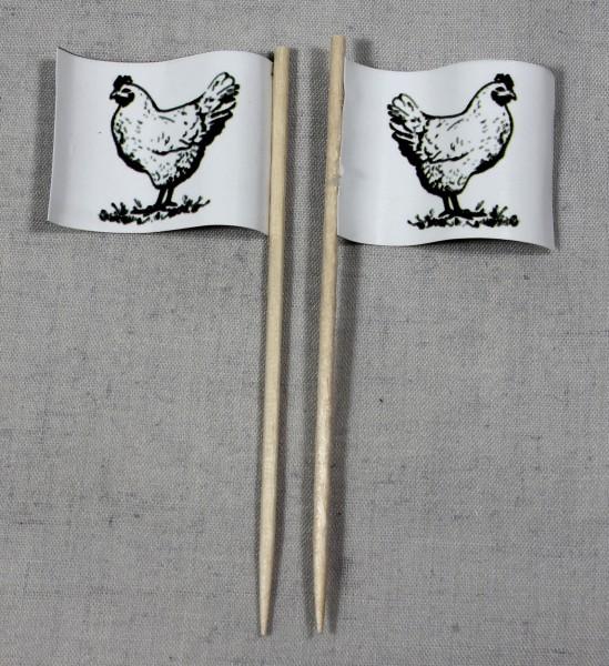 Party-Picker Flagge Huhn Hähnchen Geflügel Papierfähnchen in Spitzenqualität 50 Stück Beutel