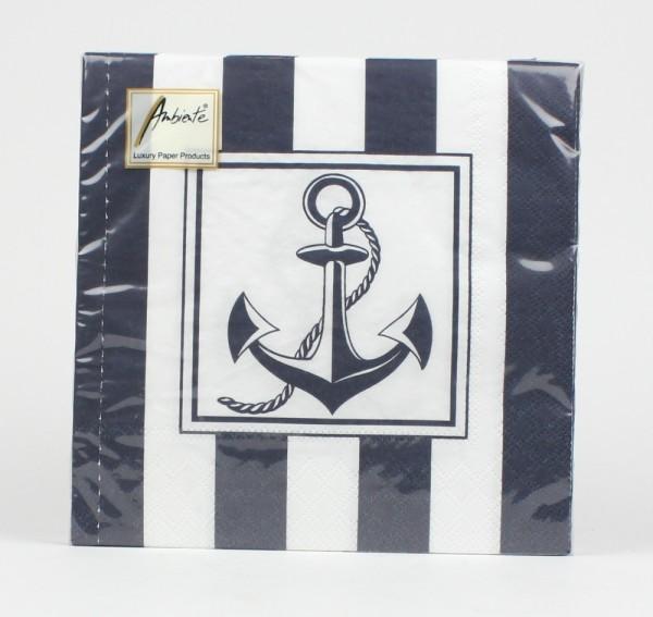 Maritime Servietten Anker Tau blau weiß gestreift maritim Tischdeko Dekoration Serviette