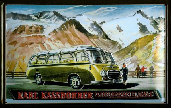 Blechschild Autobus Kässbohrer Ulm Bus retro Schild Nostalgieschild