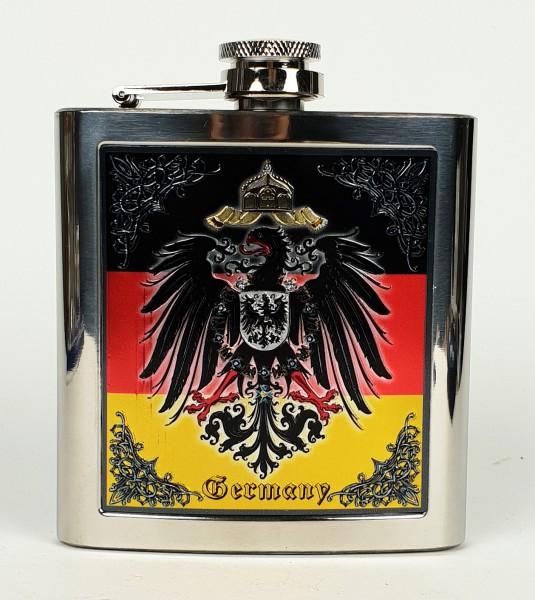 Flachmann Deutschland mit Adler Edelstahl Schnapsflasche