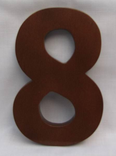 "Hausnummer Ziffer ""8"" aus lackiertem Natur - Holz, ca. 16 cm"