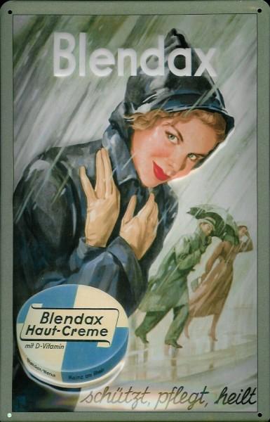 Blechschild Blendax Haut Creme Regenmantel Schild retro Werbeschild Nostalgieschild