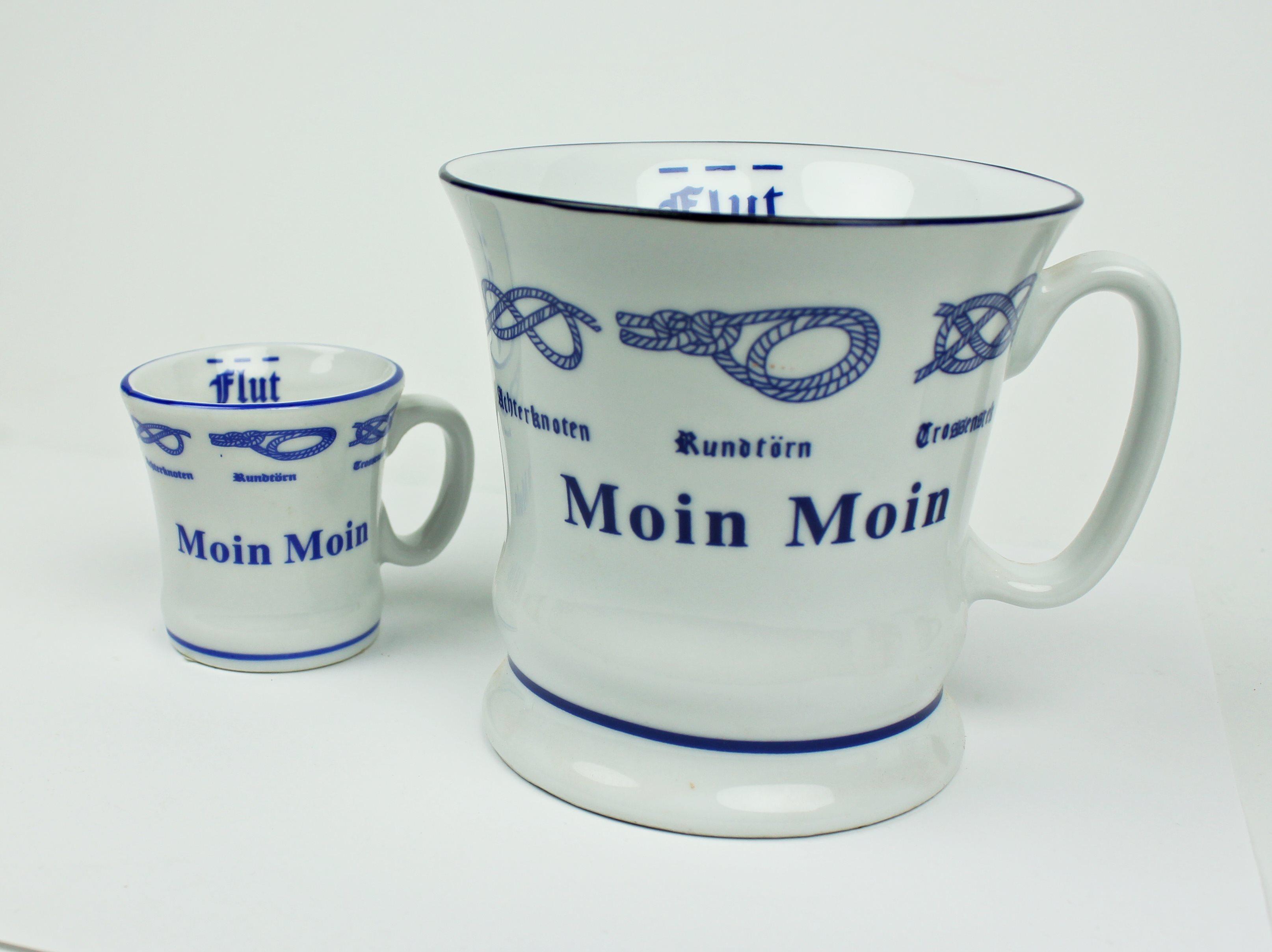 Moin Moin Kaffeepott + Moin Moin Pöttchen mit Seemannsknoten