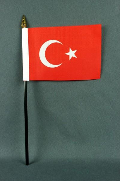 Kleine Tischflagge Türkei 10x15 cm optional mit Tischfähnchenständer
