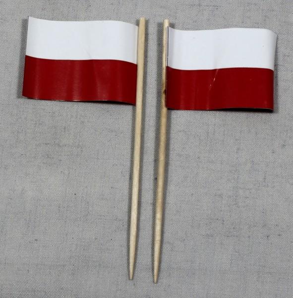 Party-Picker Flagge Polen Papierfähnchen in Spitzenqualität 50 Stück Beutel