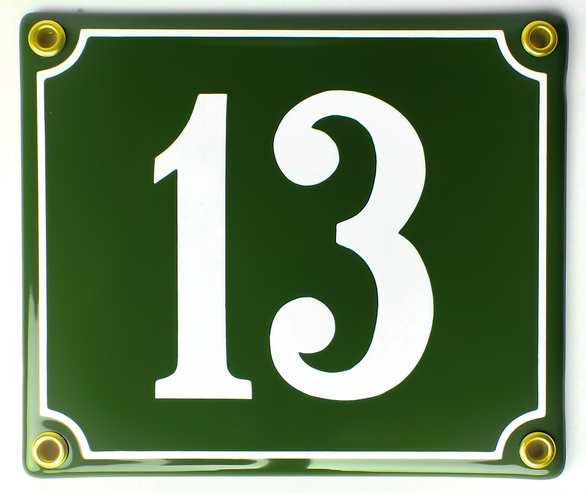 12x14_Emaille-Hausnummer-13gruen