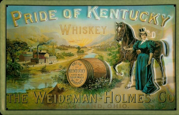 Blechschild Pride of Kentucky Bourbon Whiskey Pferd Schild Nostalgieschild