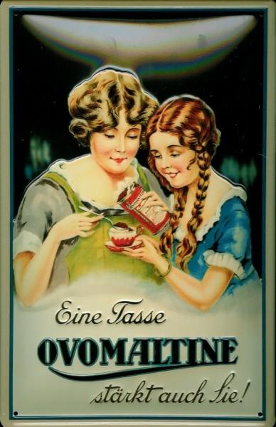 Blechschild Ovomaltine stärkt auch Sie Trink Schokolade Kakao Schild Nostalgieschild