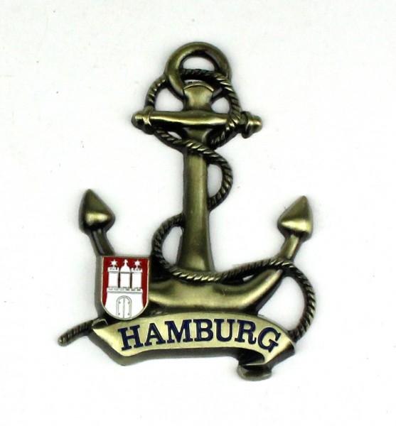 Magnet Anker Tau Messing Gold Hamburg Banderole Wappen Souvenir Mitbringsel Geschenk Deko