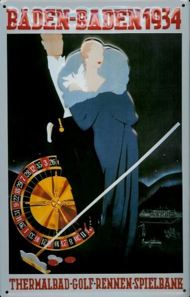 Blechschild Nostalgieschild Baden-Baden Spielbank Kasino Casino 1934