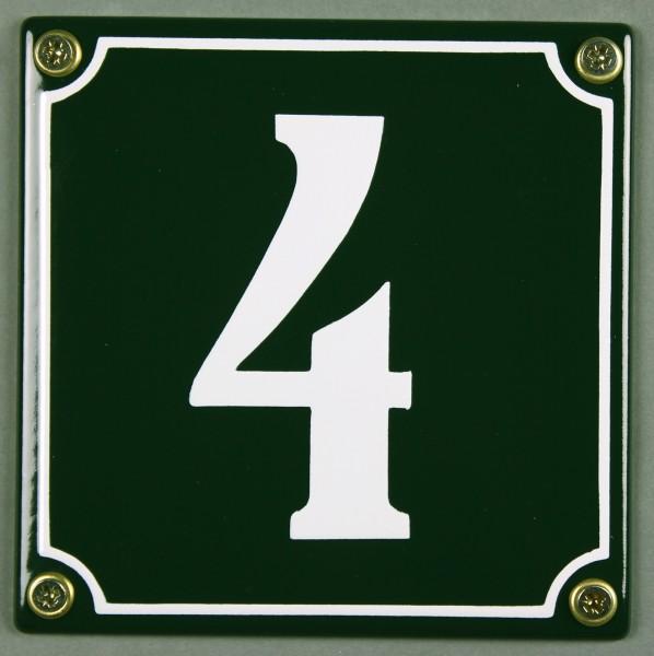 Hausnummernschild 4 grün 12x12 cm sofort lieferbar Schild Emaille Hausnummer Haus Nummer Zahl Ziffer