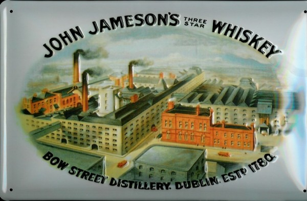 Blechschild John Jameson three star Whiskey Fabrik Dublin Schild Werbeschild