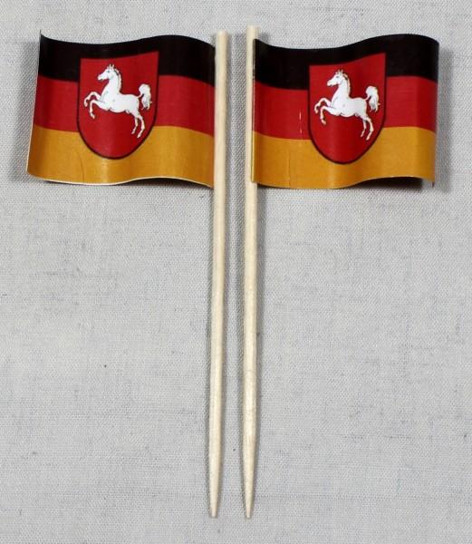 Party-Picker Flagge Niedersachsen Papierfähnchen in Spitzenqualität 50 Stück Beutel