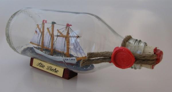 Alte Liebe runde Flasche 0,3 Liter Buddelschiff Flaschenschiff