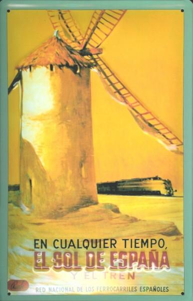 Blechschild Nostalgieschild Spanien Windmühle