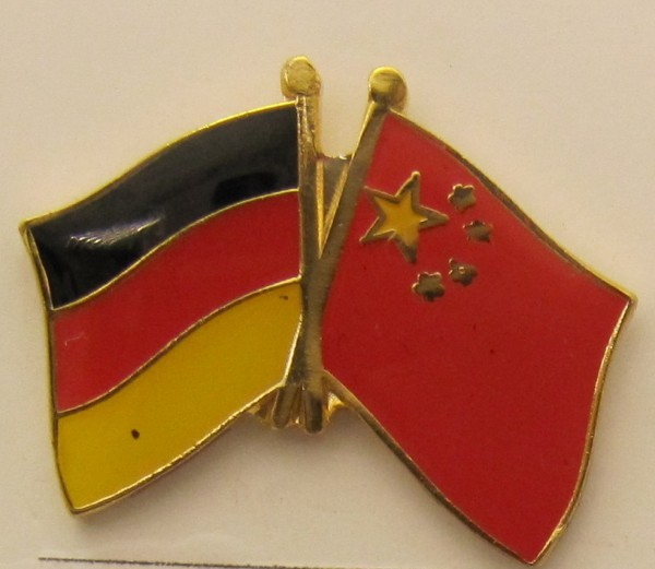 China / Deutschland Freundschafts Pin Anstecker Flagge Fahne Nationalflagge