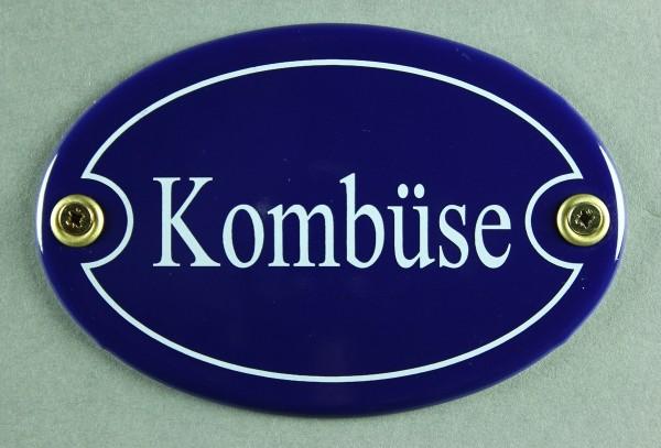Emaille Türschild Kombüse blau oval Schild Emailleschild Metallschild Blechschild