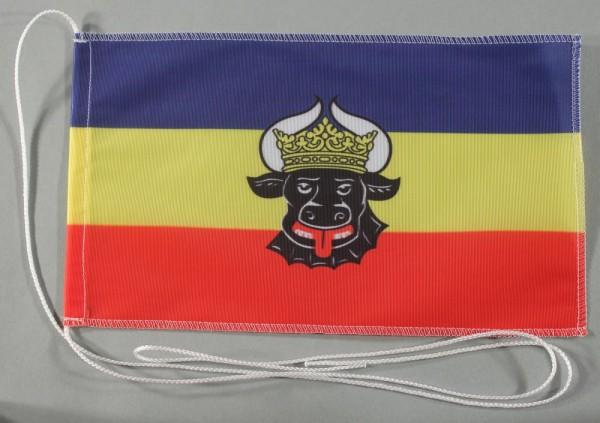 Tischflagge Mecklenburg Ochsenkopf 25x15 cm optional mit Holz- oder Chromständer Tischfahne Tischfäh