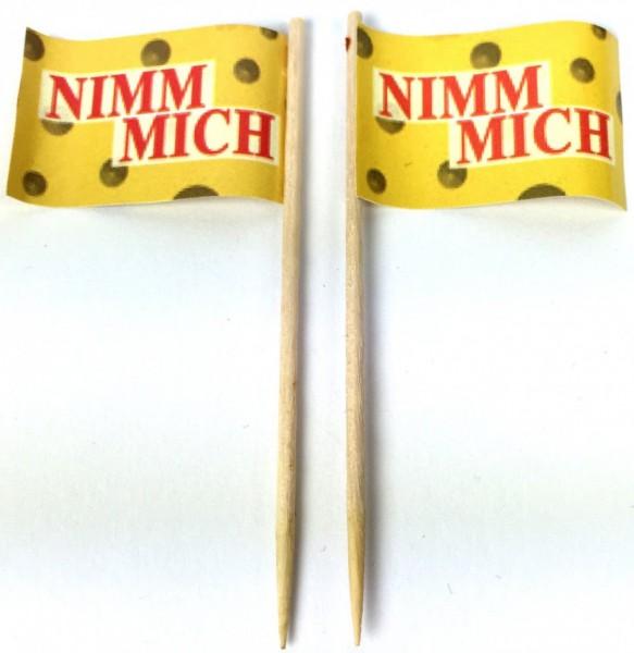 Party-Picker Flagge Nimm Mich Papierfähnchen in Spitzenqualität 50 Stück Beutel