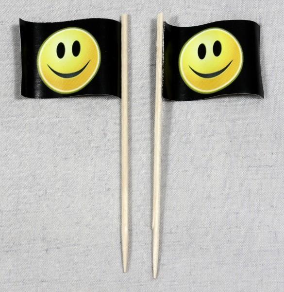 Party-Picker Flagge Smiley schwarz Smily Papierfähnchen in Spitzenqualität 50 Stück Beutel